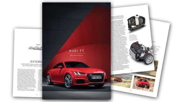 Audi TT magazine produced by MMN, featuring red 2015 Audi TT on the cover